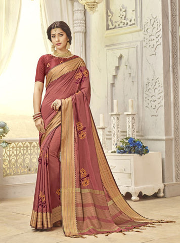 Crimson Red Silk Party Wear Saree With Crimson Red Blouse