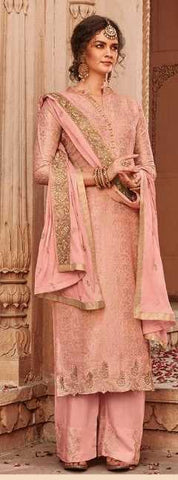 Pink Banarasi Jacquard Party Wear Salwar Kameez With  Dupatta