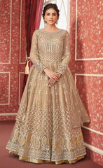 Beige Butterfly Net Party Wear Anarkali Suit With Beige Dupatta