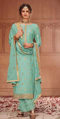 Blue Banarasi Jacquard Party Wear Salwar Suit With  Dupatta