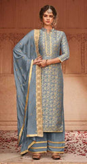 Greyish Blue Banarasi Jacquard Party Wear Suit With  Dupatta