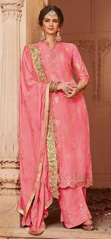 Pink Banarasi Jacquard Party Wear Salwar Suit With  Dupatta