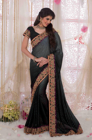 Saree Black,Georgette