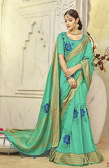 Firozi Silk Party Wear Saree With Firozi Blouse