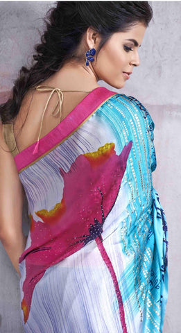 Multicolored Blue shaded Saree with Golden Blouse
