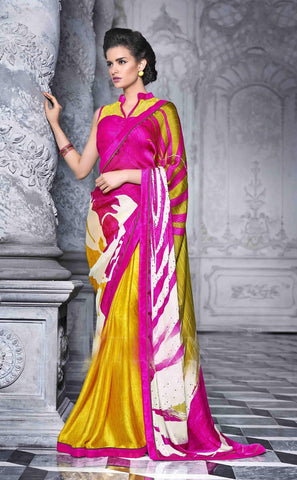 Saree Multi Colour,Georgette,Satin