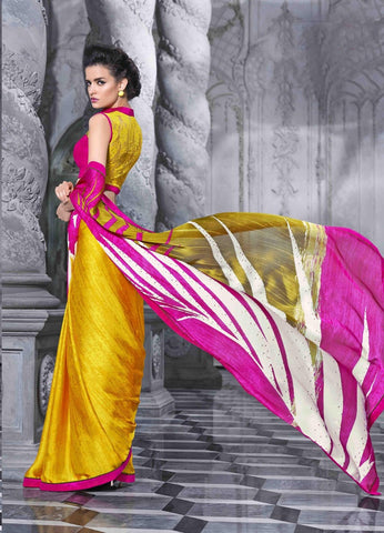 Pink and Yellow Georgette and Satin Saree with in 3500