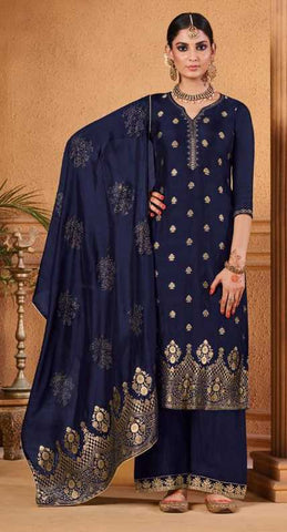Blue Dola Jacquard Party Wear Salwar Kameez With  Dupatta