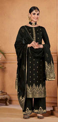 Black Dola Jacquard Party Wear Salwar Kameez With  Dupatta