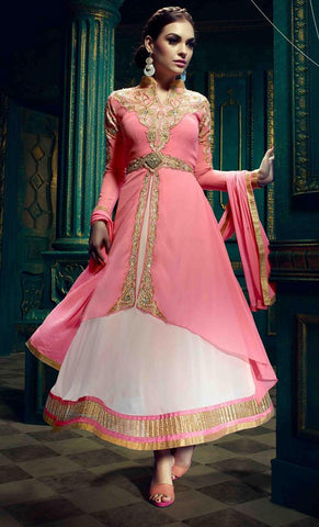 Pink anarkali embroidered semi stitched suits