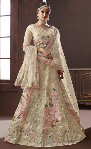 Cream Silk Party Wear Lehenga With Cream Dupatta