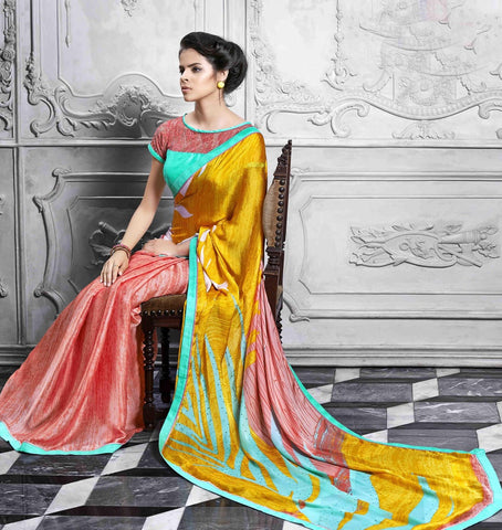 Multicolored saree georgette satin saree with in 3500