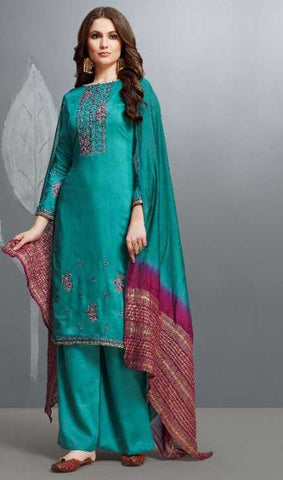 Blue Cotton Silk Party Wear Salwar Suit With  Dupatta