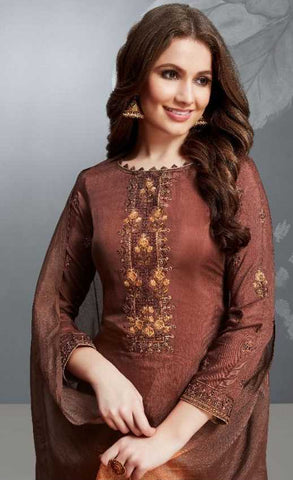 Brown Cotton Silk Party Wear Suit With  Dupatta