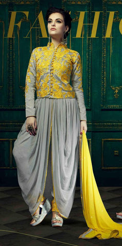 Designer long yellow semi stitched suits