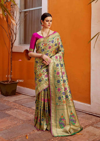 Antique Gold Paithani Silk Party Wear Saree With Pink Blouse
