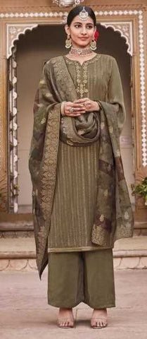 Tobacco Brown Pure Crape Party Wear Salwar Kameez With  Dupatta