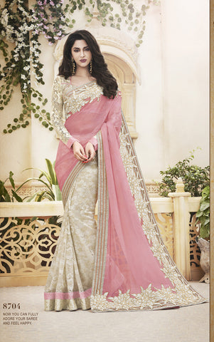 Designer Pink And Cream Color Saree for Parties and Designer Net Saree in Light Orange Color for Parties Combo Offer
