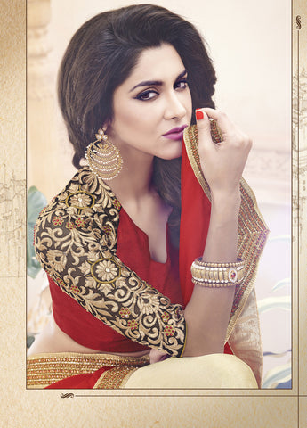 Designer Satin Chiffon Saree with Net Blouse in Red and Brown Color and Designer Sari in net Pallu with Embroidery for wedding and parties Combo Offer
