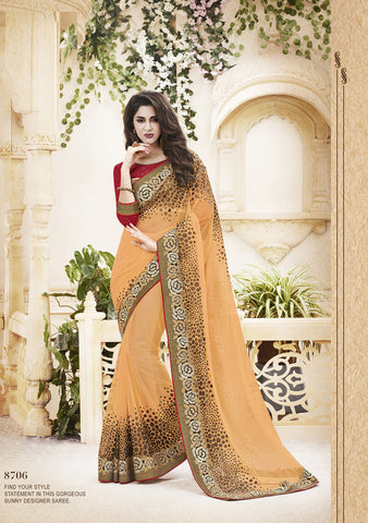 Designer Net Saree in Light Orange Color for Parties and Designer sari in net and stone work with embroidery for parties and wedding Combo Offer