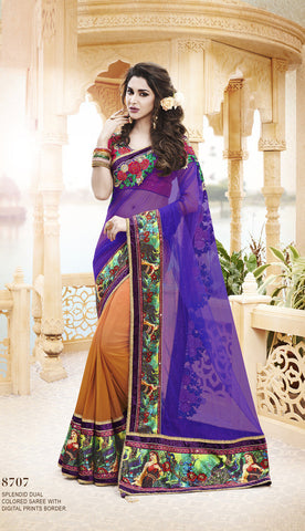 Designer sari in net and stone work with embroidery for parties and wedding and Designer Saree in Jacquard Silk for parties and wedding Combo Offer