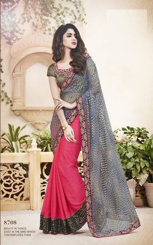 Red  And Chikoo ,Pallu-Satin Chiffon   ,designer saree with heavy embroidery with designer blouse