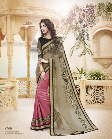 Designer net Saree in Paper Silk with Embroidery and Net Saree in Peach Color Combo Offer