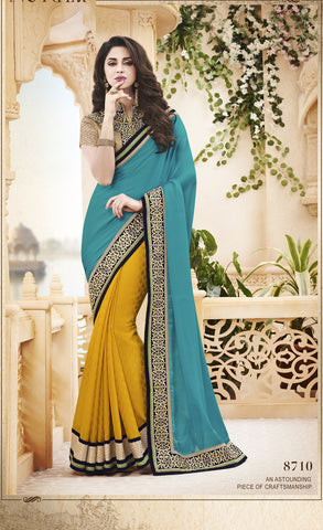 Designer Saree in Jacquard Silk for parties and wedding and Designer Satin Chiffon and Net Saree for Party Combo Offer