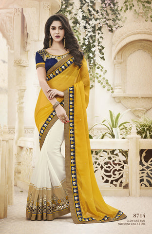 Designer Yellow and OffWhite Saree In Chiffon For Parties and Wedding and Designer Sating Chiffon and Net Saree for parties and wedding Combo Offer