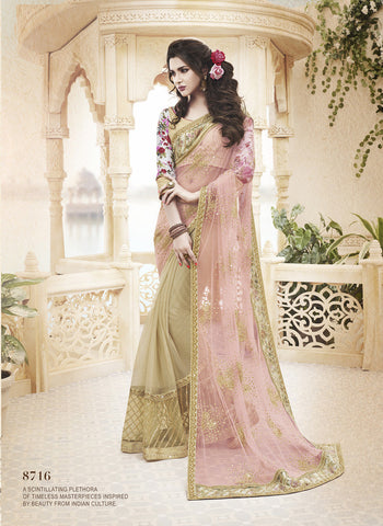 Designer Net Saree with Jacquard Silk blouse in Light Pink and Beige and Designer Sating Chiffon and Net Saree for parties and wedding Combo Offer
