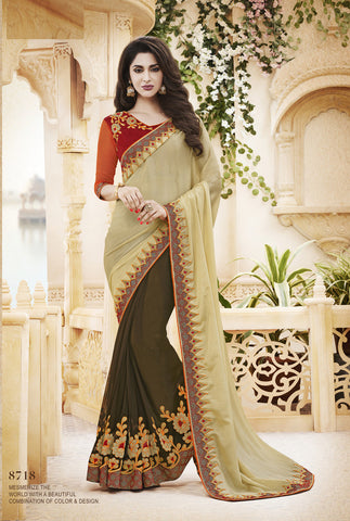 Yellow  And Off White,Chiffon,designer saree with heavy embroidery with designer blouse