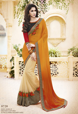 Peach  And Off White,Satin Chiffon And Self Weaving Georget,designer saree with heavy embroidery with designer blouse