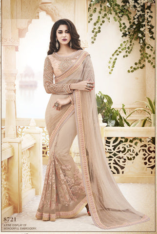 Grey , Tomato Red,Pallu- Net ,designer saree with heavy embroidery with designer blouse