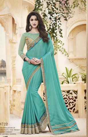 Designer Satin Chiffon and Net Saree for Party and Shop Designer Satin Chiffon Saree in Sea Green Color Combo Offer