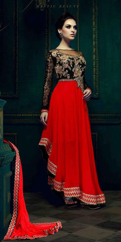 Designer red anarkali embroidered semi stitched suits