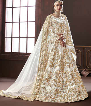 White Silk Party Wear Lehenga With White Dupatta