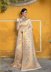 Golden Silk Party Wear Saree With Beige Blouse