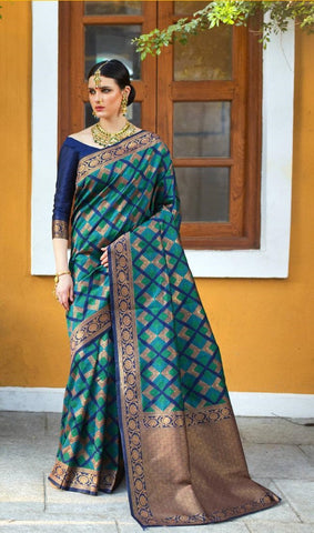 Cyan Silk Party Wear Saree With Blue Blouse