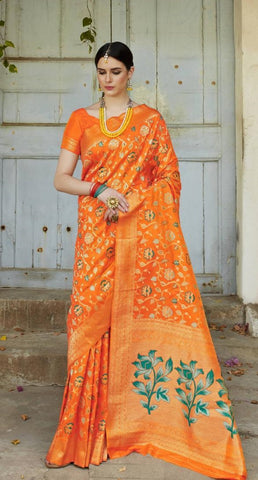 Orange Soft Silk Meenakari Party Wear Saree With Orange Blouse
