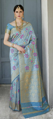 Blue Soft Silk Meenakari Party Wear Saree With Blue Blouse