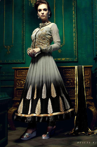 Grey and black anarkali georgette semi stitched suits