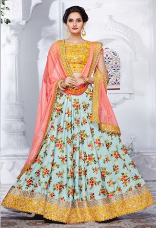 Blue Color Thread Embroidered Lehegna With Mustard Yellow Choli And Peach Dupatta