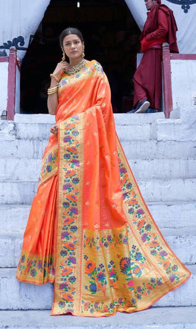 Orange Paithani Silk Party Wear Saree With Orange Blouse