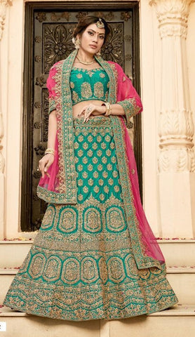 Blue Silk Party Wear  Lehenga With Pink Dupatta