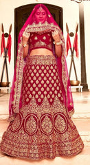 Maroon Velvet Party Wear  Lehenga With Maroon Dupatta