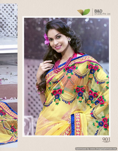 Yellow and pink saree brass and net fabric with dhupian blouse