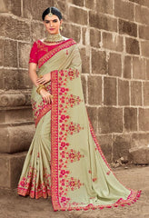 Green Silk Party Wear Saree With Pink Blouse