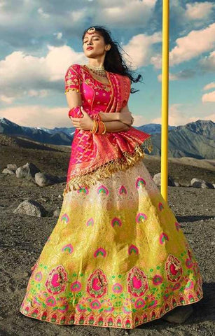 Multi Color Silk Party Wear Lehenga With Pink Choli And Pink Dupatta