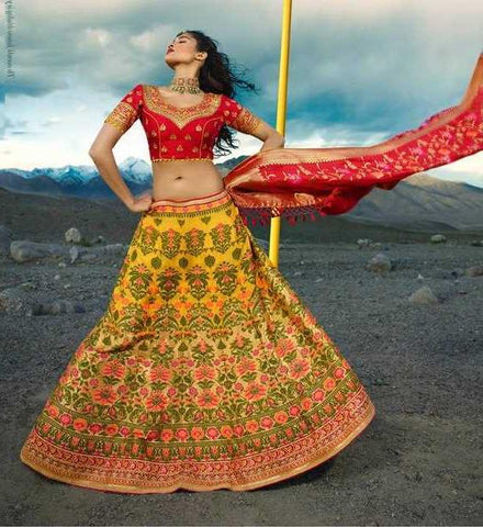 Yellow Silk Party Wear Lehenga With Red Choli And Red Dupatta