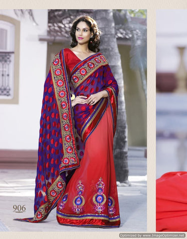 Brasso and bembrang saree with dhupian blouse , Red saree and blue saree
